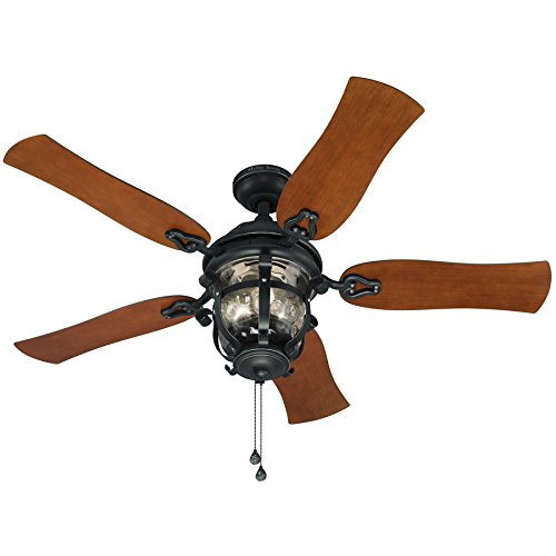 Harbor Breeze Lake Placido 52-in Aged Iron Outdoor Downrod or Flush Mount Ceiling Fan with Light Kit