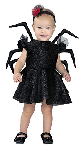 Baby Girl Spider Halloween Costume (Princess Paradise Baby Widow Deluxe Costume, Black, 12 to 18)