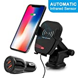 Wireless Car Charger, Detuosi Automatic Infrared Car Wireless Charger, Car Phone Mount, 10W Fast Charge for Samsung S9/S8/S7 etc. 7.5W Fast Charge for Iphone XS Max/XS/XR/X/8plus/8 [QC3.0 Car Charger]