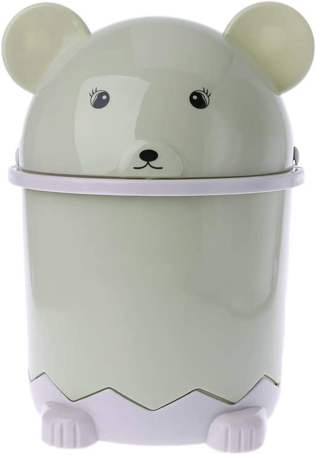 Beerty 1.5L Cute Mini Bear-Shaped Waste Basket Bin Office Desktop Garbage Can for Home Bathroom Trash Can with Swing Lid(Green)