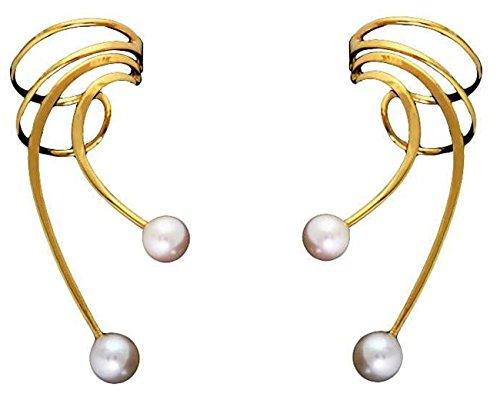 Gold Vermeil Pierceless Long Wave White Cultured Freshwater Pearl Ear Cuff Wrap Set
