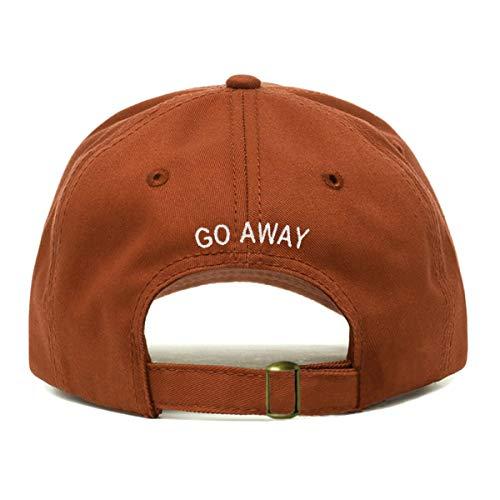 Go Away Baseball Hat, Embroidered Dad Cap, Unstructured Soft Cotton, Adjustable Strap Back (Multiple Colors) (Burnt Orange)