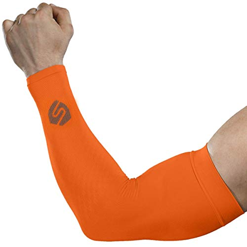 SHINYMOD Cooling Sun Sleeves 2018 Newest Upgraded Version 1 Pair/ 3 Pairs UV Protection Sunblock Arm Tattoo Cover Sleeves for Men Women Cycling Driving Golf Running-(1 Pair Orange)
