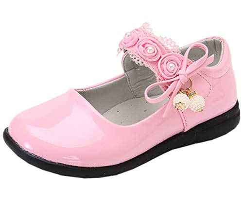 DADAWEN Girl's Strap School Uniform Dress Shoe Mary Jane Flat (Toddler/Little Kid) Pink US Size 5.5 M -