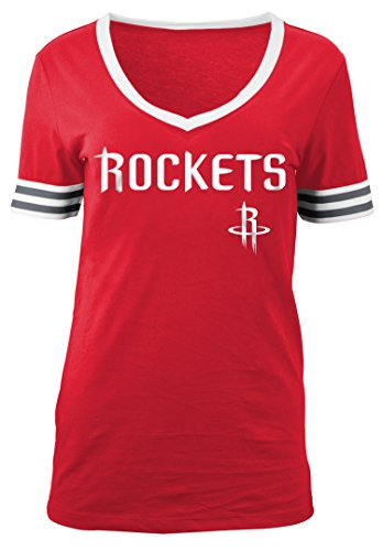 Rocket Applique (NBA Houston Rockets Adult Women Ladies Baby Jersey Short sleeve V Neck with Chenille Applique,M,Red)