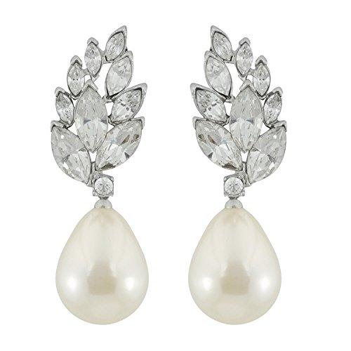 Kenneth Jay Lane Pearl Teardrop Crystal Cluster Top Clip-on Earring
