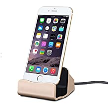 iPhone Charger Dock, TopAce Desk Charger Station with Lightning Connector for Apple iPhone 7/7 Plus/5/5c/5s/6/6s/6 Plus/6s Plus/iPod Nano 7th Gen/iPod Touch 5th and 6th Gen (Gold)