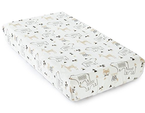 Levtex Baby Bailey Taupe and Grey Woodland Themed Plush Changing Pad Cover by Levtex
