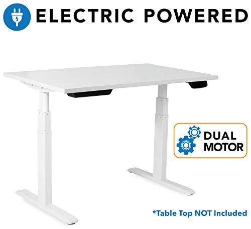 Mount-It! Electric Standing Desk Frame – Motorized Sit Stand Desk Base with Programmable, Memory and Timer Function LED Touch Control – Dual Motor Height Adjustable Workstation – Steel Base, White