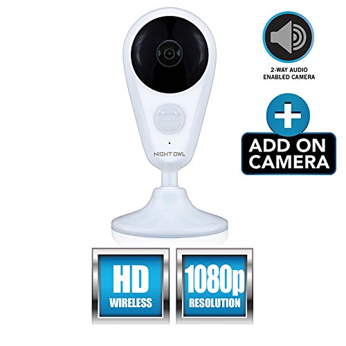 Night Owl Security Add-On Indoor Wireless 1080P Ac Powered Camera, White  (CAM-WNVR2P-IN)