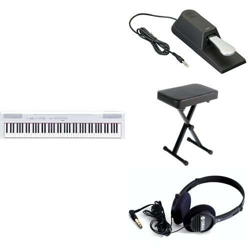 Yamaha P115 Digital Piano, White, with Sustain Pedal, Bench, and Headphones