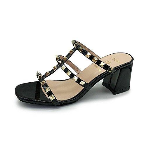 eleganceoo Women's Fashion Stella Open Toe Mid Chunky Heel Pump Sandals-(Black 37/6.5 B(M) US Women) (Jeans Stella Cropped)