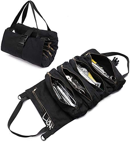 ユニバーサルホームツールロールオーガナイザーバッグ、ヘビーデューティキャンバスレンチツールポーチ、電気技師の配管工、大工または整備士用の5つのファスナー付きポケット(カラー:アーミーグリーン)