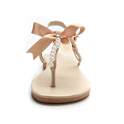 FANIMILA Moda Mujer Basic Planos Sandalias Chicas Colegio Flip Flop Zapatos with Bowknot Beige