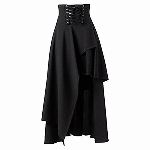 Molre-yan Femmes Robe Jupe Europen et Amricain Style Gothique Lolita Tie Maxi Jupe Noir