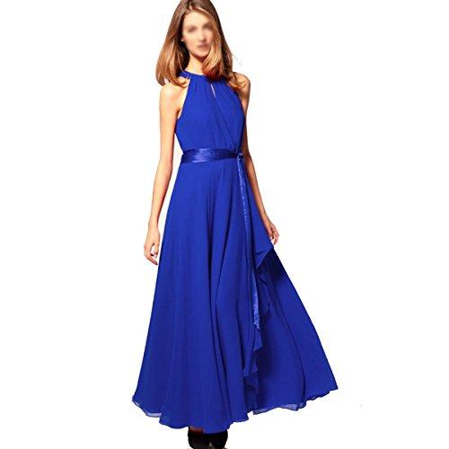 La Sra Mangas Vestido Sin Tirantes De La Gasa Multicolor De Varios Tamaños Blue