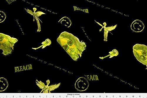 Spoonflower 90 S Fabric - Nirvana Kurt Cobain Seattle Grunge Music Drawing - by Elliottdesignfactory Printed on Basic Cotton Ultra Fabric by The Yard ()