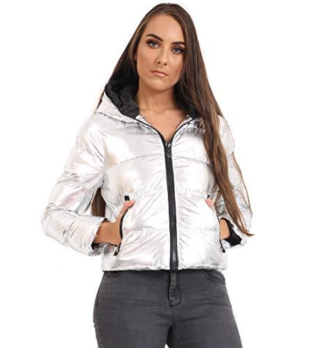 À Ss7 Capuchon Coat Puffer Silver Taille 36 Matelassée 44 Métallique Veste Femme Argent fxIrIqt
