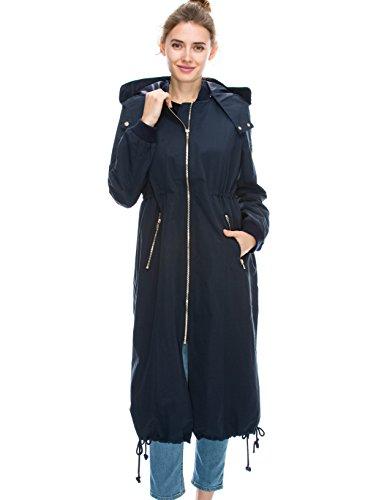 JEZEEL Daisy Women's Zipper Pocket Detail Hooded Long Waterproof Jacket. (L, Navy)