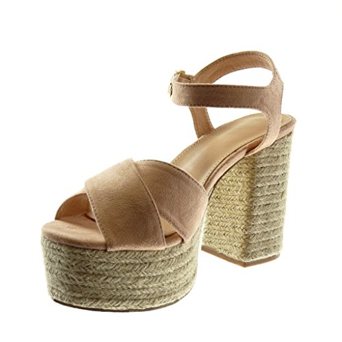 Angkorly Women's Fashion Shoes Sandals Mules - Ankle Strap - Platform - Cord - Thong - Buckle Block High Heel 11 cm Light Pink 65NenVb7