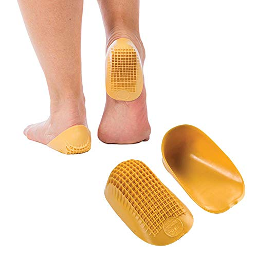 Tuli's Classic Heel Cups (2-Pairs), Shock Absorption and Cushion Inserts for Plantar Fasciitis and Heel Pain Relief, Yellow, - Heel Cups Pro Tulis