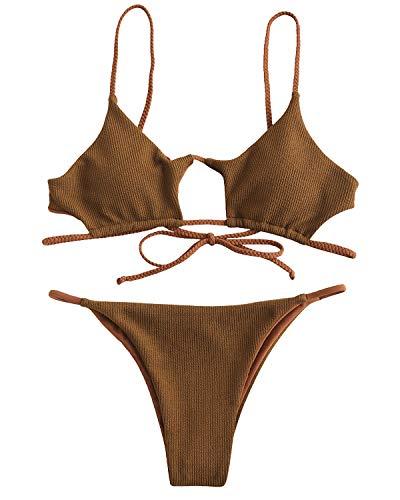 (ZAFUL Women Ribbed Braided Cut Out Bikini Set Padded Bikini Two Pieces Swimwear Swimsuit Tiger Orange Small)