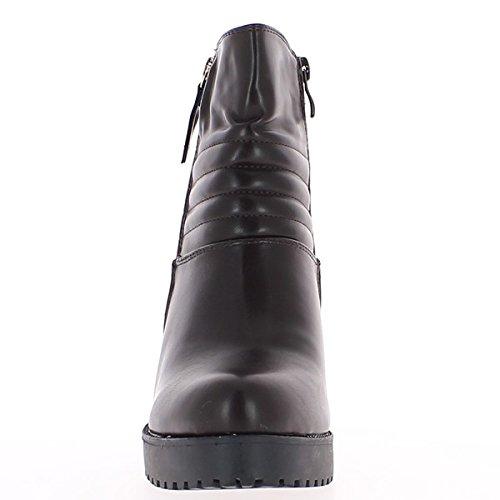 La cuña del talón marrón botas cuero suela gruesa 10 cm