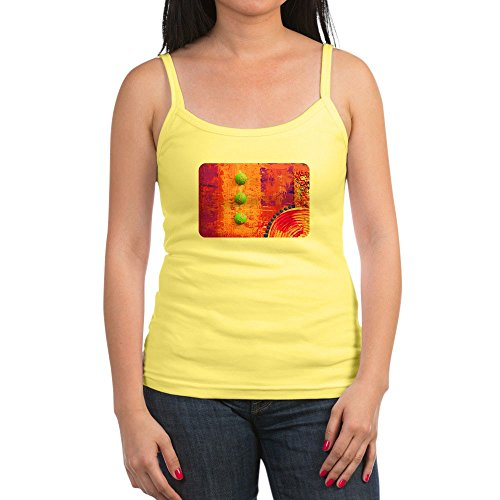 Royal Lion Jr. Spaghetti Tank Abstract Peace Symbol Sign - Lemon, Medium