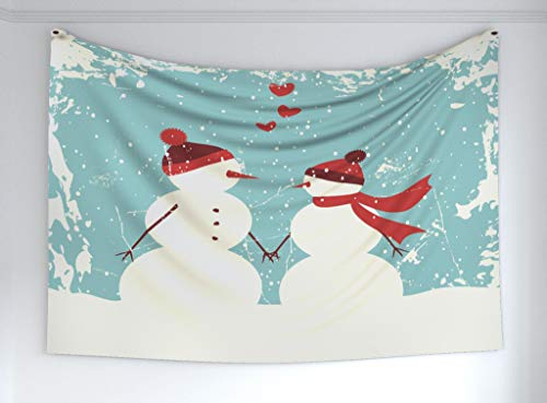 Ambesonne Christmas Tapestry, Snowman Woman Romantic Couple in Love Holding Hands Grunge Display, Fabric Wall Hanging Decor Bedroom Living Room Dorm, 60 W X 40 L Inches, Seafoam Red Cream (Wall Snowman Tapestry)