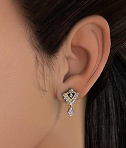 14K Or jaune 0.54CT TW White-diamond (IJ   SI) Pendants d'oreilles