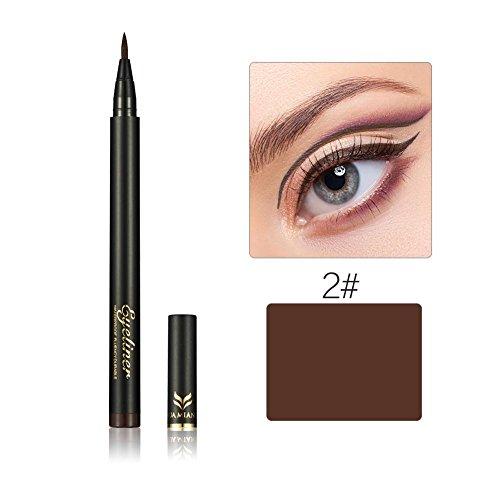 ZHUOTOP Beauty - Bolgrafo lquido para maquillaje, 2 colores, color negro, marrn, grueso, de secado rpido, resistente al aceite, no se empaa, lpiz delineador de ojos