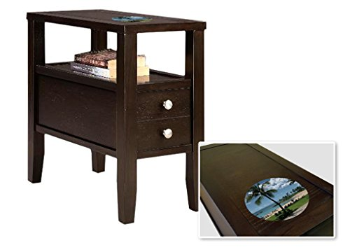 New Cappuccino / Espresso Finish Wooden End Table Night Stand with Drawer featuring Hawaii Beach by The Furniture Cove