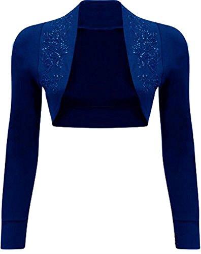 NEW Womens Beaded Long Sleeve Shrugs Sequin Bolero Crop Cardigan Top (8/10, Royal Blue)