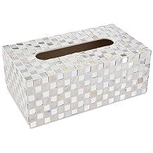 White Contemporary Glass Mosaic Tiled Design Facial Tissue Holder / Decorative Napkin Box Cover - MyGift®