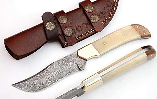 GladiatorsGuild Custom Made Full Tang Skinner Fixed Blade 9″ Hunting Skinning Knife with Sheath Damascus Steel Pattern Welded 66