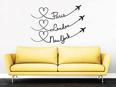 Paris London New York Quote Travel Wall Decal Vinyl Stickers Decals Home Decor Love Planes Decals Vinyl Lettering Wall Decal Bedroom ZX251 (n)