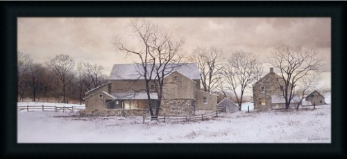 Evening Chores by Ray Hendershot Country Farm Snow Scene 37x17 Wall Art Print Picture (Snow Scenes Pictures)