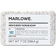 MARLOWE. No. 102 Men's Body Scrub Soap 7 oz | Best Exfoliating Bar for Men | Made with Natural Ingredients | Amazing Sandalwood & Agarwood Scent