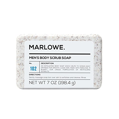 MARLOWE. No. 102 Men's Body Scrub Soap 7 oz | Best Exfoliating Bar for Men | Made with Natural Ingredients | Green Tea Extract | Amazing Scent