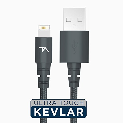 Tech Armor Apple MFi Certified Lightning to USB Sync/Charge Cable Compatible with iPhone or iPad, Made with Kevlar, Tough-Braided Extra-Strong Jacket, Space Gray, 2 Feet