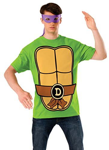 Ninja T Shirt Mask (Nickelodeon Ninja Turtles Shirt With Mask and Donatello, Green, Medium)