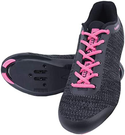 Tommaso Pista Aria Knit Women's Spin Class Ready Cycling Shoe and Bundle with Compatible Cleat, Look Delta, SPD - Black, Pink, Grey, Blue