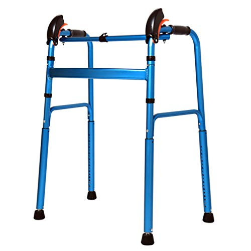 WAOBE Folding Walking Frame, Aluminium Lightweight Adjustable Height Walking Frame, for Disabled and Old ()