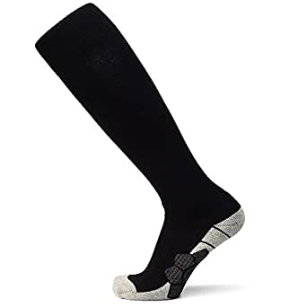 ZESTSPORT Soccer Socks Athletic Knee High Tube Compression Football Sock for Men (Small, Black)