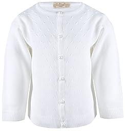 Lilax Little Girls\' Knit Cardigan Sweater 4T White
