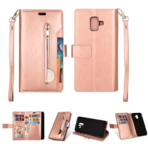 Galaxy A6 (2018) Case,Gift_Source [Stand Feature] [Multi Card Slots] Flip Wallet Phone Cases [Wrist Strap] PU Leather Zipper Purse Folio Magnetic Cover for Samsung Galaxy A6 2018 (5.6