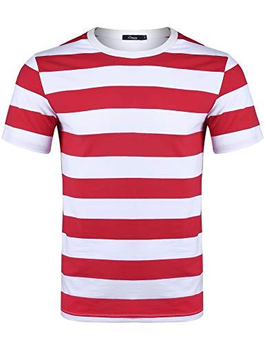 iClosam Men's Crew Neck Basic Striped T-Shirt Short Sleeve Cotton Shirt (Red and White Short2, - Shirt White Striped Red And