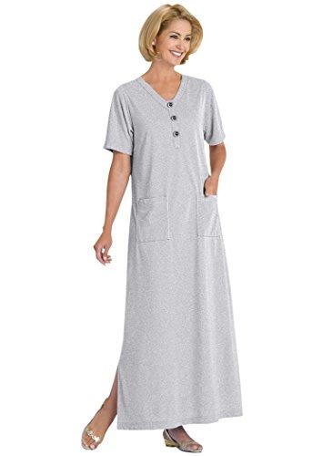 AmeriMark Long Knit Lounge Dress Gray