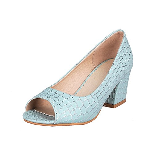 Amoonyfashion Womens Open-toe Tacco A Gattone Pu Solido Pull-on Pumps-scarpe Blu