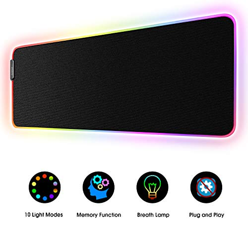 Large RGB Gaming Mouse Pad - 10 Light Modes Extended Computer Keyboard Mat with Durable Stitched Edges and Non-Slip Rubber Base, High-Performance Mouse Pad Optimized for Gamer 31.5X 11.8in